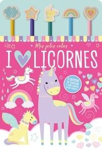 1, 2, 3 soleil ! - I love licornes - Avec 5 crayons de couleur et leur gomme toute douce.