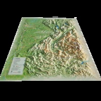 3D Map - Carte en relief de l'Isère - 1/370 000.