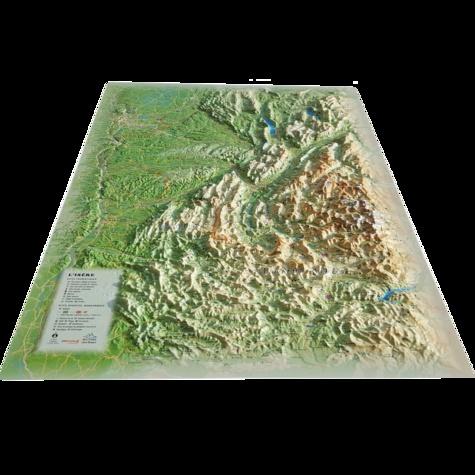 Carte en relief de l'Isère. 1/370 000