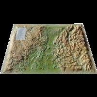 3D Map - Carte en relief de la Drôme-Ardèche - 1/400 000.
