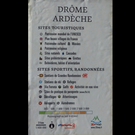 Carte en relief de la Drôme-Ardèche. 1/400 000