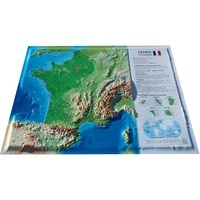3D Map - Carte en relief de la France physique et des fonds marins.