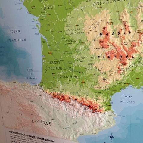 Carte en relief de la France physique - 1/2 000... - 3D Map - Livres - Furet du Nord