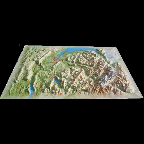 3D Map - Carte en relief de la Haute-Savoie version été - 1/230 000.