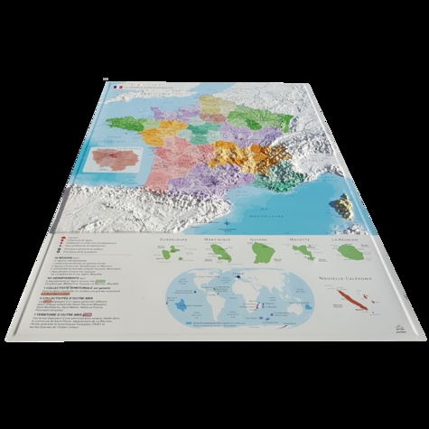 Carte en relief de la nouvelle France administrative. 1/2 000 000 + Jeu de 6 cartes muettes à télécharger et imprimer