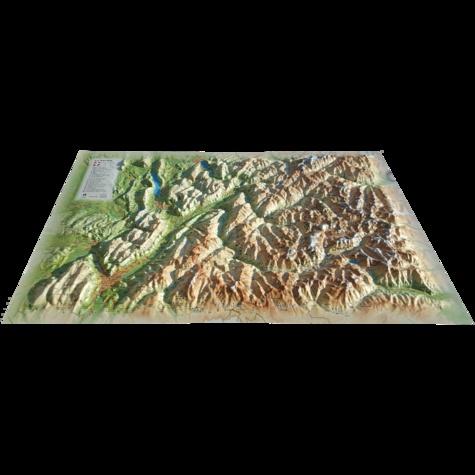 Carte en relief de la Savoie