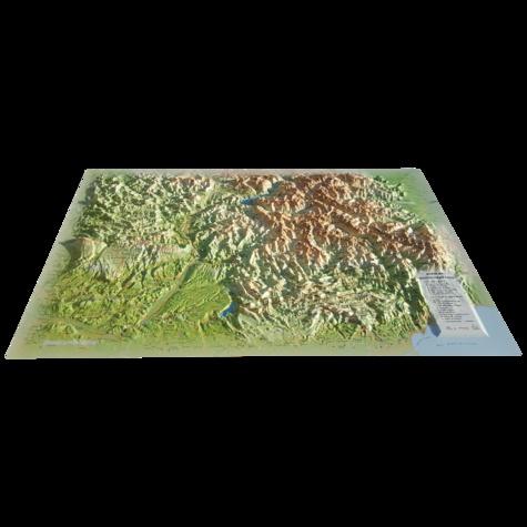 3D Map - Carte en relief des Alpes de Haute Provence - 1/370 000.