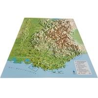 3D Map - Carte en relief des Alpes françaises et de ses massifs alpins - 1/650 000.