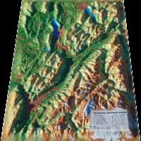 3dmap - Carte en relief des Bauges-Belledonne-Chartreuse - 1/185 000.