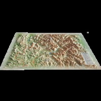 3D Map - Carte en relief des Hautes Alpes.