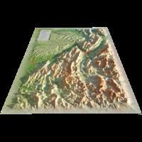 3D Map - Carte en relief des PNR Vercors-Chartreuse - 1/220 000.