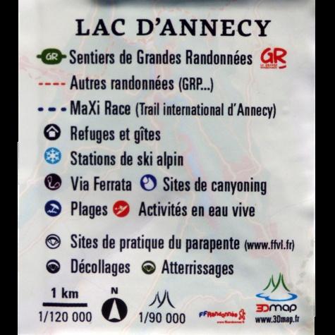 Carte en relief du lac d'Annecy. 1/120 000