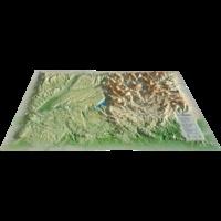 3D Map - Carte en relief du parc naturel du Verdon - 1/170 000.