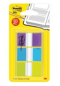 3M FRANCE - Lot 3x20 Marque-Pages Post It Index violet bleu vert