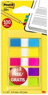 3M - Lot de 60 index + 40 gratuits Post-it étroits coloris assortis - Etui nomade