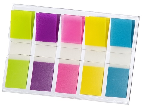 Lot de 60 index + 40 gratuits Post-it étroits coloris assortis - Etui nomade