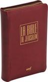 """Éditions du Cerf - La Bible de Jérusalem Poche, étui """"luxe"""" bordeaux avec fermeture éclair, papier bible, tranche or."""