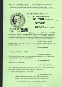 Eric Vanden Eynde - Revue belge d'homéopathie N° 288, décembre 202 : .