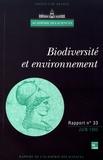 Académie des sciences - Biodiversité et environnement.