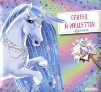 Ad'lynh et Christine Alcouffe - Cartes à pailleter Licornes - Avec un stylet malin double embout.