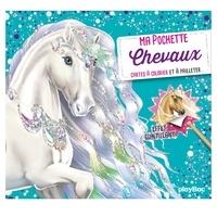 Télécharger le livre isbn no Ma pochette Chevaux  - Cartes à colorier et à pailleter en francais par Ad'lynh, Christine Alcouffe, Mathilde Fenouillet 9782809668742
