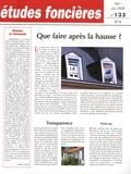 Joseph Comby - Etudes foncières N° 133, Mai-juin 200 : Que faire après la hausse ?.