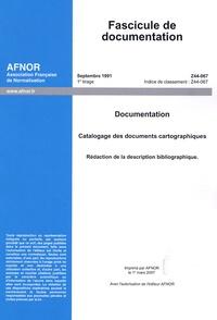Deedr.fr Fascicule de documentation Z 44-067 Septembre 1991 - Documentation, Catalogage des documents cartographiques, Rédaction de la description bibliographique Image