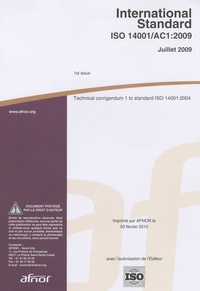 Deedr.fr International Standard ISO 14001/AC1:2009 - Technical corrigendum 1 to standars ISO o standard ISO 14001:2004 Image