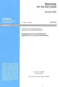 Checkpointfrance.fr NF EN ISO 22000 Systèmes de management de la sécurité des denrées alimentaires - Exigences pour tout organisme appartenant à la chaîne alimentaire Image