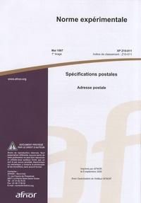 Norme expérimentale XP Z10-011 Spécifications postales - Adresse postale.pdf