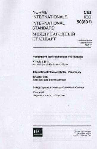 AFNOR - Norme internationale CEI IEC 50(801) - Vocabulaire Electronique International.
