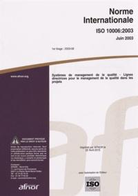Birrascarampola.it Norme internationale ISO 10006:2003 Sytèmes de management de la qualité - Lignes directrices pour le management de la qualité dans les projets Image