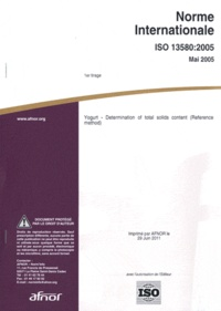 Histoiresdenlire.be Norme internationale ISO 13580:2005 Yogurt - Determination of total solids content (Reference method) Image