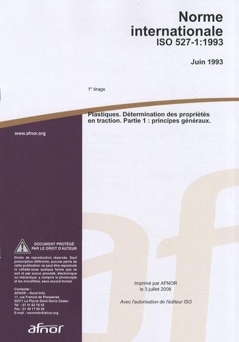 AFNOR - Norme internationale ISO 527-1:1993 Plastiques - Détermination des propriétés en traction Partie 1 : principes généraux.