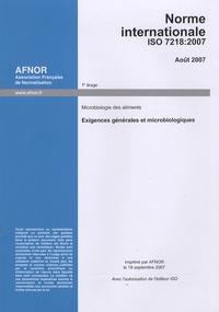 Galabria.be Norme internationale ISO 7218:2007 Microbiologie des aliments - Exigences générales et microbiologiques Image