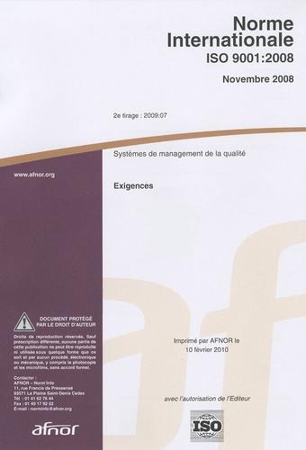 AFNOR - Norme Internationale ISO 9001:2008.