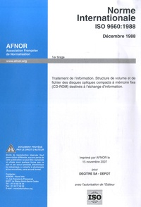 Histoiresdenlire.be Norme Internationale ISO 9660:1998 - Traitement de l'information.Structure de volume et de fichier des disques optiques compacts à mémoire fixe (CD-ROM) destinés à l'échange d'information Image
