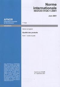 Deedr.fr Norme internationale ISO/CEI 9126-1:2001 Génie du logiciel - Qualité des produits Partie 1, modèle de qualité, édition en anglais Image