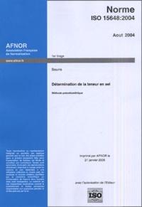 Openwetlab.it Norme ISO 15648 août 2004 - Beurre, détermination de la teneur en sel Image