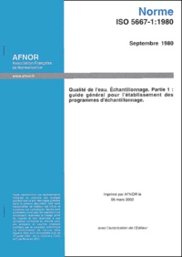 Norme ISO 5667-1:1980 Qualité de leau, échantillonnage. - Partie 1, Guide général pour létablissement des programmes déchantillonnage.pdf