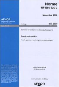 Deedr.fr Norme NF E66-520-7 Novembre 2000 Domaine de fonctionnement des outils coupants - Couple outil-matière, Partie 7: applicationn à la technologie de perçage dans le plein Image