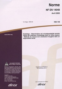 Deedr.fr Norme NF EN 14048 Emballage - Détermination de la biodégradabilité aérobie ultime des matériaux d'emballage dans un milieu aqueux - Méthode de mesure de la demande d'oxygène dans un respiromètre fermé Image