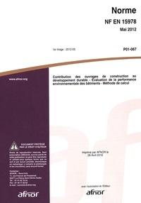 Deedr.fr Norme NF EN 15978 Contribution des ouvrages de construction au développement durable - Evaluation de la performance environnementale des bâtiments - Méthode de calcul Image