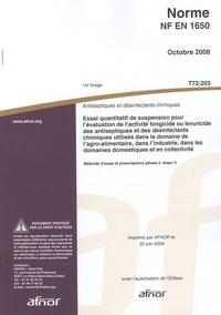 Satt2018.fr Norme NF EN 1650 Antiseptiques et désinfectants chimiques - Essai quantitatif de suspension pour l'évaluation de l'activité fongicide ou levuricide des antiseptiques et des désinfectants chimiques utilisés dans le domaine de l'agro-alimentaire, dans l'industrie, dans les domaines domestiques et en collectivité Image