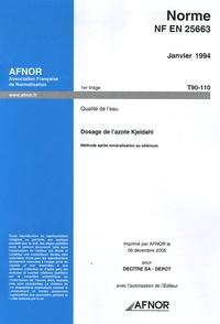 Norme NF EN 25663, Janvier 1994, Qualité de leau - Dosage de lazote Kjeldahl, Méthode après minéralisation au sélénium.pdf