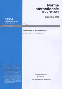 Norme NF EN ISO 2789 Information et documentation - Statistiques internationales de bibliothèques.pdf