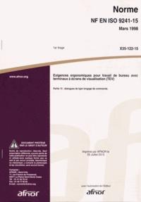Histoiresdenlire.be Norme NF EN ISO 9241-15 Exigences ergonomiques pour travail de bureau avec terminaux à écrans de visualisation (TEV) - Partie 15 : dialogues de type langage de commande Image