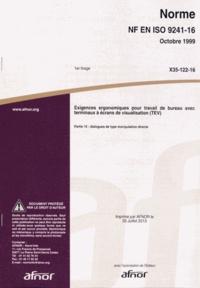 Histoiresdenlire.be Norme NF EN ISO 9241-16 Exigences ergonomiques pour travail de bureau avec terminaux à écrans de visualisation (TEV) - Partie 16 : dialogues de type manipulation directe Image