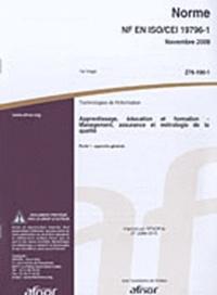 Deedr.fr Norme NF EN ISO/CEI 19796-1 - Technologies de l'information : apprentissage, éducation et formation, management, assurance et métrologie de la qualité, Partie 1 : approche générale Image