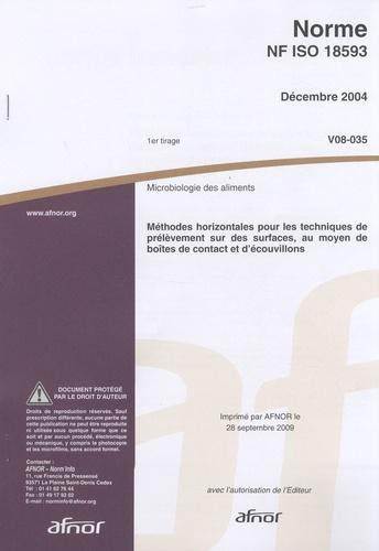AFNOR - Norme NF ISO 18593 Microbiologie des aliments - Méthodes horizontales pour les techniques de prélèvement sur des surfaces, au moyen de boîtes de contact et d'écouvillons.